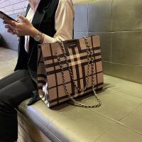 香港代购真皮女包2020新款格纹链条大包公文托特包手提包单肩包潮
