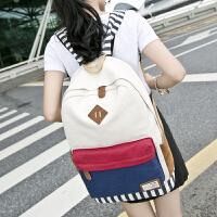 韩版学院风女士双肩背包 休闲帆布女士单肩包 大容量个性时尚背包男包女包中学生书包