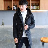 冬季新款连帽外套男潮牌青年加厚袄子男学生中长款棉衣男