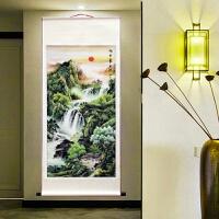 竖幅国画字画山水画办公室客厅装饰画财源滚滚富水长流卷轴