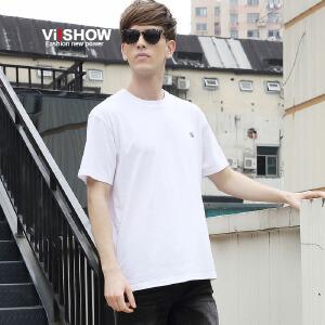 VIISHOW夏季新款男士短袖T恤 纯色圆领棉t恤 青年衣服潮体恤