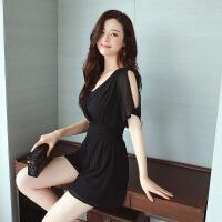 纯色优雅韩版纯色气质甜美百搭连体裤连衣裤2017年夏季薄款 黑色