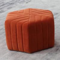 【品牌热卖】实木脚凳坐墩换鞋凳布艺小凳子家用创意圆凳客厅沙发凳矮板凳 橙红色
