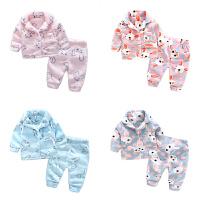 婴儿家居服套装6宝宝9个月新生儿长袖冬季保暖睡衣