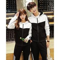 情侣装秋装新款韩版长袖卫衣男女休闲运动套装两件套学生班服 上白下黑套装 S