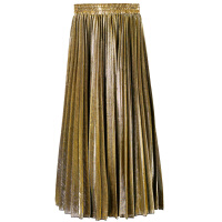 秋冬女新款金属色风琴百褶裙长款裙子韩版高腰半身裙冬季长裙
