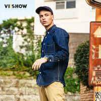 VIISHOW2017秋装新品牛仔长袖衬衫男明辑线纯棉男士衬衣牛仔蓝