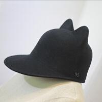天天法国萌爆潮M猫耳朵纯羊毛呢棒球帽马术帽子女冬天鸭舌帽 M(56-58cm)