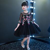 2017女童舞台钢琴演出服 新款黑色中袖儿童礼服公主裙花童礼服蓬蓬裙夏 黑 色