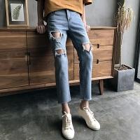 男装夏季九分牛仔裤子薄款青年修身小脚破洞休闲韩版潮流