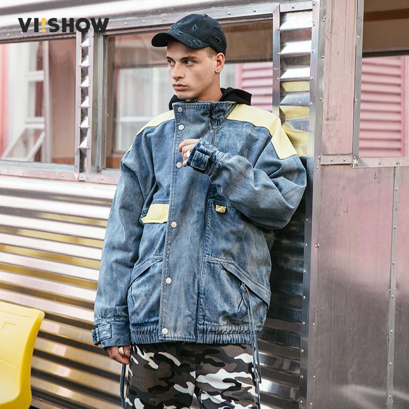 VIISHOW新款男士牛仔夹克 韩版宽松学生嘻哈外套2018春季情侣上衣满199减20/满299减30/满499减60 全场包邮