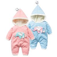 女婴儿连体衣服秋冬季0岁6个月男宝宝2冬装衣服新生儿靓仔外出服