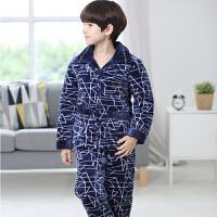 男孩7大童9家居服周岁儿童睡衣男童冬季珊瑚绒3法兰绒5夹棉厚款 深蓝纹路