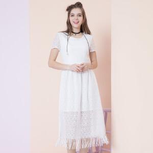 ZDORZI卓多姿夏装显瘦纯色长款蕾丝连衣裙女732379