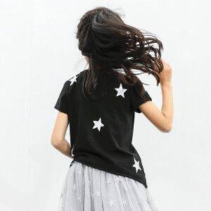 【尾品汇 5折直降】amii童装2017夏装新款女童不规则斜裁下摆上衣中大童撞色圆领T恤