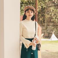喇叭袖针织上衣女2019冬季新款女长袖韩版修身显瘦打底内搭毛衣厚
