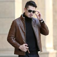 冬季新款男装男士真皮皮衣夹克皮毛一体加绒厚绵羊皮外套 咖啡 0/M