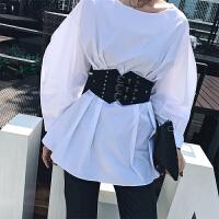 新款欧美时尚弹力腰封装饰百搭宽腰带配衬衫铆钉束腰显瘦女士皮带 黑色 12cm