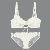 性感透明蕾丝文胸镂空绑带聚拢透气薄款大码女士内衣女神套装 米白色