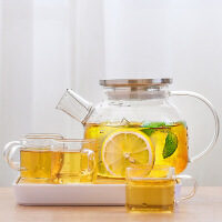 唐丰玻璃花茶壶套装水果茶壶透明茶具可加热泡花茶玻璃杯家用