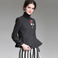 女装秋季新款插花艺术上衣+竖条纹阔腿裤套装0702 黑色