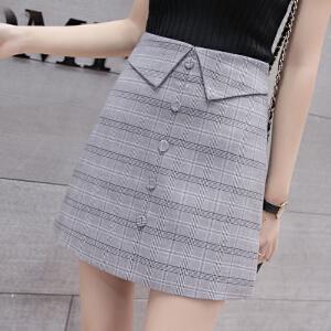 AGECENTRE 2018春装新款 春季新款春夏格子半身裙高腰短裙A字包臀裙子女
