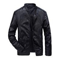 战地吉普AFS JEEP全棉时尚单层皮衣夹克男装立领皮夹克青年男士休闲瘦身皮衣简约薄款PU皮衣夹克