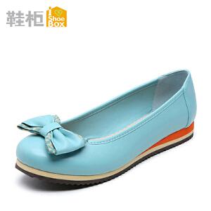 达芙妮旗下鞋柜单鞋女 甜美蝴蝶结圆头浅口坡跟低跟鞋女鞋