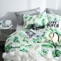 家纺款全棉床单被罩被套床笠四件套纯棉北欧美风1.8m双人床上用品 1.5m (被套200x230)