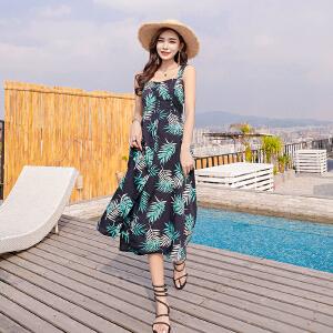甜美小清新连衣裙女2018夏季新款海边旅游女装连衣裙波西米亚长裙