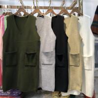 D3中长款毛衣女背心马甲春秋套头针织衫韩版无袖毛线衣毛衣裙0.55