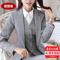职业装正装女套装面试大学生灰色西装套装秋冬女士商务西服工作服