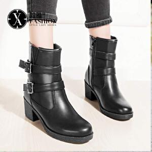 【毅雅】女鞋秋冬新款潮流休闲英伦机车靴女靴时尚扣带粗跟女短靴