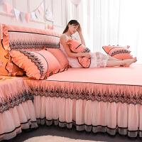 公主黑色蕾丝床裙单件荷叶边床罩防滑花边床笠席梦思保护套