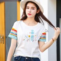 新品韩版百搭圆领棉短袖T恤女装几何图案印花小衫女潮