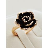 黑色玫瑰饰品潮人日韩创意女欧美复古时尚夸张装饰食指戒指指环