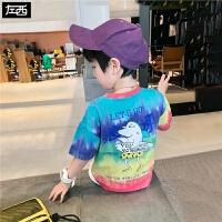 【2件2折后:59】左西童装男童T恤短袖纯棉儿童夏装2020新款中大童上衣夏季韩版潮