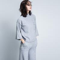 客供冬季新款套装针织上衣时尚休闲阔腿裤两件套女装