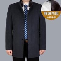 中年男士羊毛呢大衣冬装加厚中长款毛呢外套爸爸风衣外套羽绒内胆