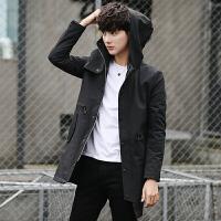 风衣男士韩版中长款外套男新款春秋连帽夹克潮流披风冬季衣服 黑色 L