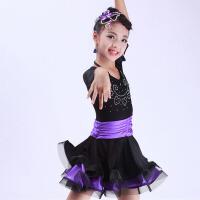 儿童演出服新款女 少儿拉丁舞裙烫钻练功服新款