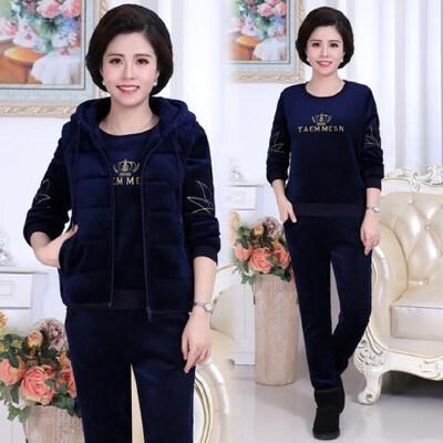 韩版时尚女士套装中老年运动套装女加绒加厚运动服三件套 品质保证 售后无忧 支持货到付款