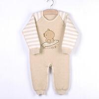 新生婴儿秋冬纯彩棉保暖连体衣长袖衣服 宝宝哈衣爬服睡衣
