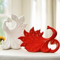 创意客厅装饰品摆件卧室酒柜工艺品摆设现代简约房间个性小饰品 白红一对