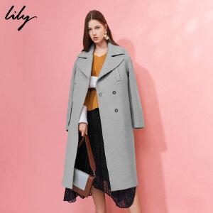 Lily春秋新款女装时尚OL大翻领长款个性毛呢大衣117429F1909