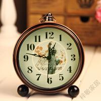 复古田园巴黎铁塔木头小闹钟 时尚创意座钟桌面时钟表家居饰品 座挂钟 3自由女神