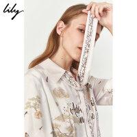 Lily2019冬新款女装复古国风气质星际印花系飘带宽松长袖衬衫4918