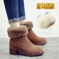冬季加绒马丁靴女英伦风复古粗跟短靴女真皮中跟棉鞋女靴子