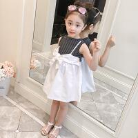 女童夏装新品连衣裙儿童假两件套裙子小女孩中大童无袖短袖