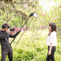 摄影灯架机顶闪光灯支架 外拍便携LED摄影灯横臂 手持伸缩杆